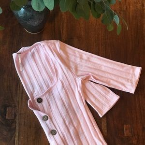 Free People Pink Button Up 3/4 Sleeve Ribbed Shirt